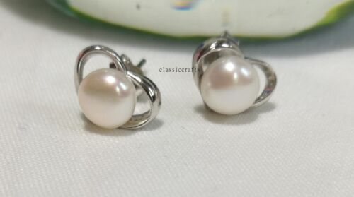 Genuine 6mm freshwater pearl in sterling silver triangle stud earring small