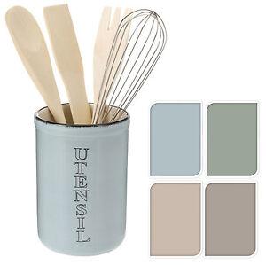 Image Is Loading Shabby Chic Glazed Ceramic Kitchen Utensil Holder With