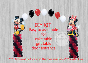 Red Minnie Mouse Mickey Balloon Arch With Columns Birthday Party
