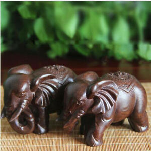 Lucky Thuja Elephant Natural Carved Statue Stone Animal Office Decor Ornament