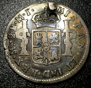 1785 ME M I Peru Lima Silver 2 Reales Carlos III Spanish Colonial Pirate Coin