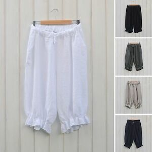 ac892575088 Image is loading Lagenlook-Linen-Shorts-Bloomers-Pants-Quirky-Plus-Size-