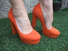 "LADIES ~ DUNE "" HEAD OVER HEELS "" ORANGE SUEDE HIGH HEEL SHOES ~ EU 39 UK 6"