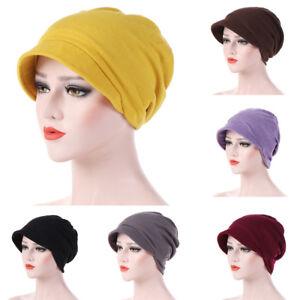 Eg-Femme-Hiver-Coton-Couleur-Unie-Beret-Bonnet-Chaude-Automne-Turban-Chapeau