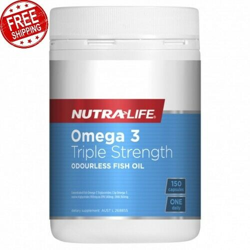 Nutra Life Omega 3 Triple Strength Odourless Fish Oil Supports Heart 150 Capsule
