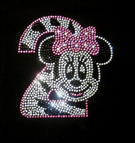 Minnie Mouse pink//clear ZEBRA 2nd Birthday iron on rhinestone transfer for shirt