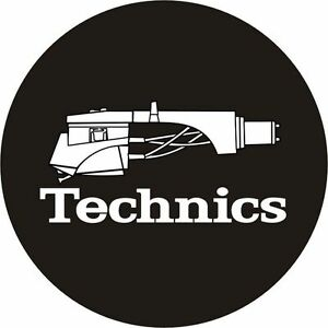 Technics-60644-PAIR-Slipmat-Headshell-1-Black-White-Logo-Original-Brand-New