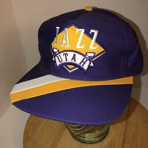 1f302663bdf VTG 80s UTAH JAZZ The Pro SIDE LINER Purple Hat Cap Snapback Green ...