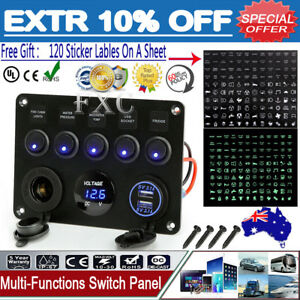 5-Gang-ON-OFF-Toggle-Switch-Control-Panel-2-USB-Charger-12V-for-Car-Marine-Boat