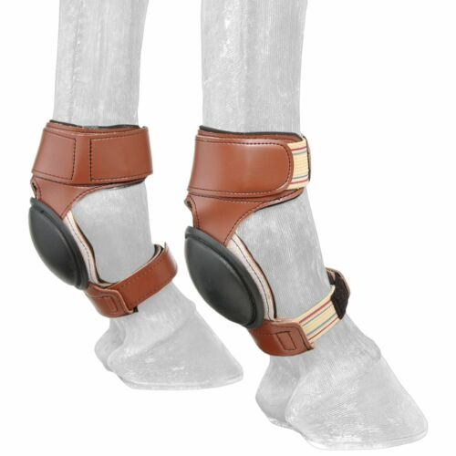 C--102 Tough 1 Horse Tack Ultimate Equithane Skid Boots W// Rubber Cup Brown