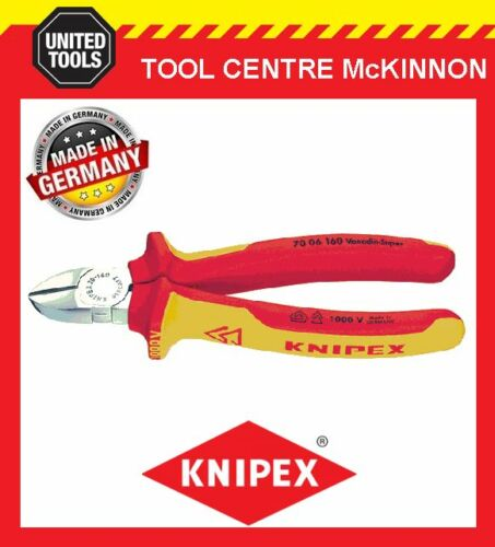 KNIPEX 70 06 160 160mm 1000V VDE DIAGONAL CUTTING PLIERS MADE IN GERMANY