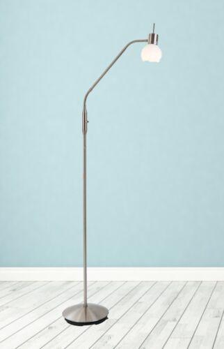 Glas LED Stehleuchte Stehlampe Leselampe Bodenlampe Leuchte flexibel nickel E14