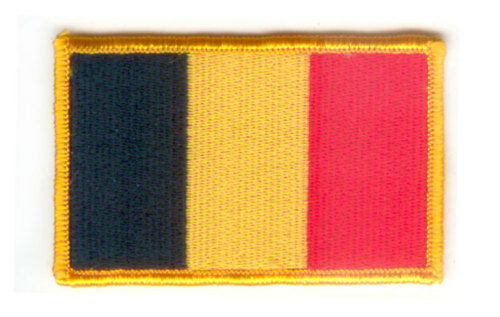 BELGIUM FLAG PATCH BADGE IRON ON NEW EMBROIDERED