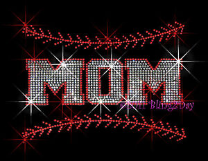 Details about MOM BASEBALL RHINESTONE IRON ON TRANSFER FOR T-SHIRT