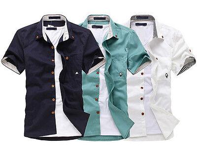 ZD40 New Mens Fashion Casual Luxury Dress Slim Fit Short Sleeves Shirts