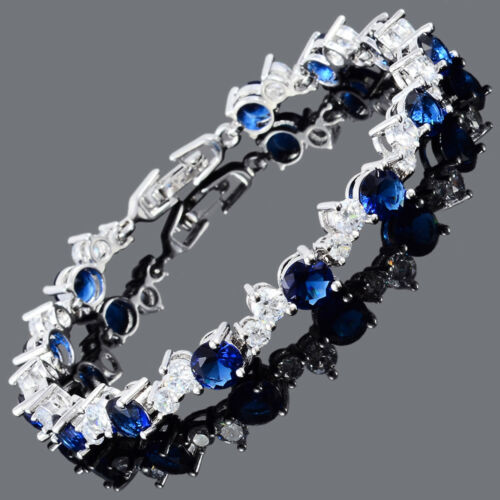 Brass Round Cut 18K Blanc Or Plaqué Zircon Cubique Topaz Saphir Bleu Tennis Bracelet