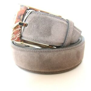 B-420074-Neuf-Brioni-Daim-Taupe-Cuir-Laiton-Massif-Boucle-or-Taille-40-pour-38