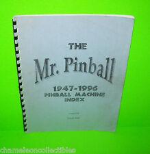 THE MR PINBALL 1947-1996 PINBALL MACHINE INDEX BOOK COVERS FLIPPER PINBALL GAMES
