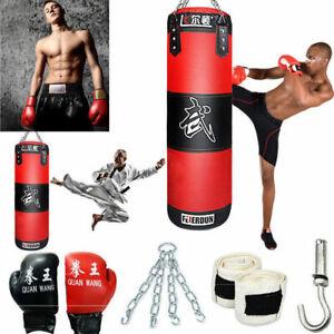 Heavy-Boxing-Punching-Bag-Training-Gloves-Speed-Set-Kicking-MMA-Workout-GYM