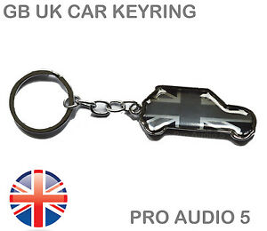 Mini Shape Car Union Jack Gb Uk Keyring Grey Black Silver Cooper S