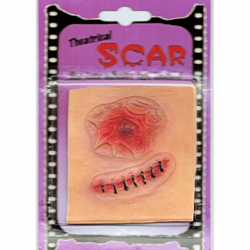 Open Wound /& Stitch Latex Zombie Horror Scar Makeup Special FX Costume accessory
