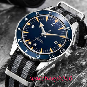 41mm-Sterile-Blue-Dial-Sapphire-Glass-SS-MIYOTA-Automatic-Mechanical-men-039-s-Watch