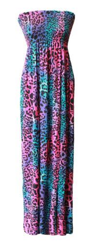 New Womens Ladies Printed Boob Tube Stretch Sheering Maxi Plus Size Dress 8-26