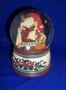Princess-House-1997-Music-Box-Snow-Globe-Santa-amp-Children-Jolly-Old-St-Nicholas