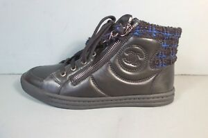 CHANEL 36 Black Blue Tweed Lambskin Lace Up Sneakers Tennis Shoes ... 0b83dc14e59