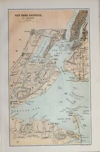 Map Of New York Harbour.Details About 1885 Map New York Harbour Vicinity Elizabethtown Brooklyn Jersey City