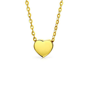 Tiny-Heart-Shape-14K-Yellow-REAL-Gold-Shinny-High-Station-Pendant-Necklace-s