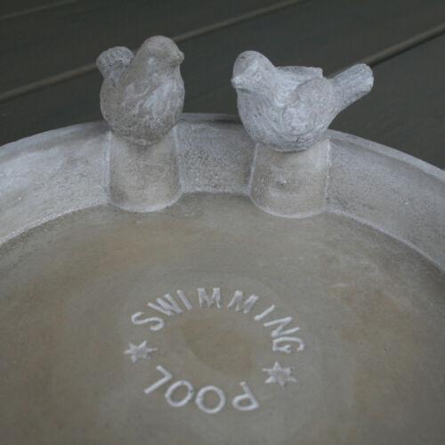 Vogeltränke Swimming Pool 25x10,5cm mit 2 Vögeln,Steingut grau,Vogelbad