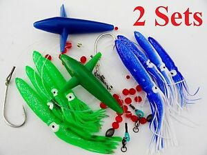 Green Squid Daisy Chain Bait Rig Bird Trolling Lure squid Tuna
