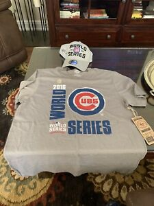 Chicago-Cubs-Men-039-s-2016-World-Series-039-47-Brand-039-Tee-Shirt-Sz-L-New-Era-Hat-Combo