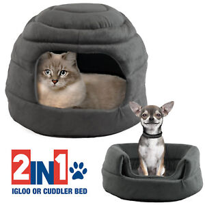 Pet-Igloo-Cat-Dog-House-Bed-Kitten-Puppy-Cave-Hut-Enclosed-Convertible-Cuddler