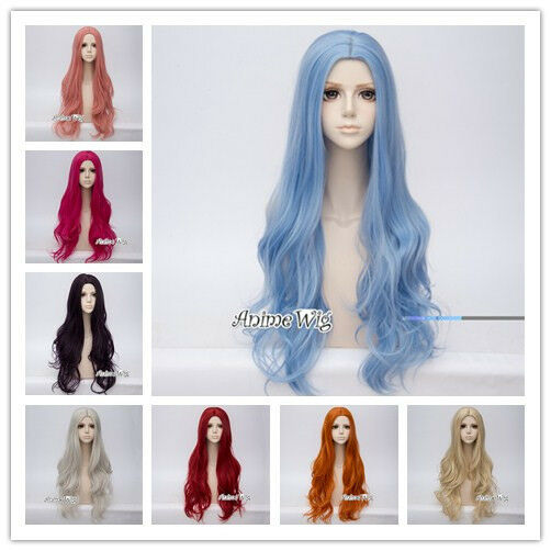 Anime Lolita 80CM Long Wavy Basic Middle Part Cosplay Wig Heat Resistant+Wig Cap