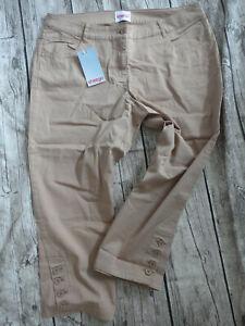 Sheego-Ladies-Trousers-Cloth-Pants-7-8-Capri-Braun-Size-short-20-to-22-505