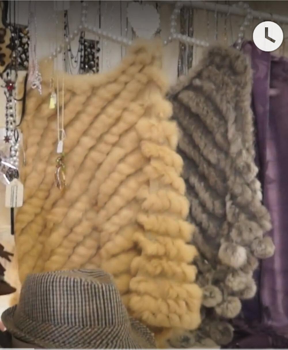 Coney Fur Poncho - Light braun - ( Genue Fur )