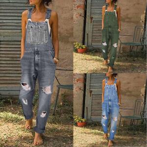 Para Mujeres Informal Denim Jeans Pantalones Babero Mono Monos Enterizos Pantalones Correas Ebay