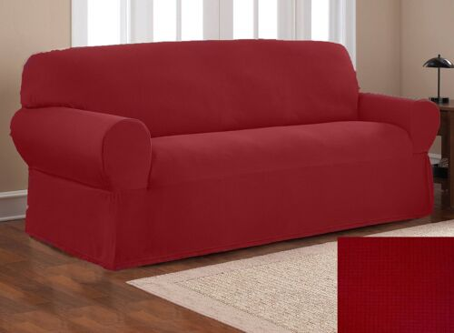 Fancy Linen Sure Fit Stretch Fabric Sofa Slipcover 2 Pc Solid Burgundy New