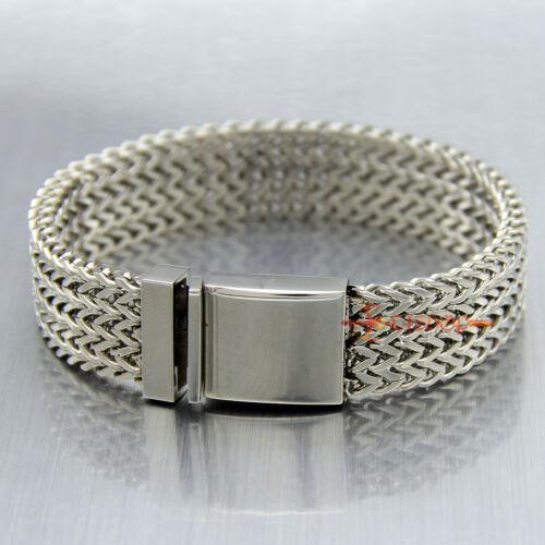 Large Acier Inoxydable Franco Chaîne Lien Cubain Men/'s bracelet silver bracelet