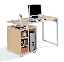 Mesa de ordenador escritorio multimedia color haya y pata metalica de despacho