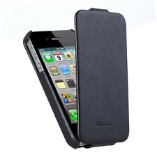 iphone 4/4s Genuine Leather Hand Crafted case , Vertical flip Design ,Black