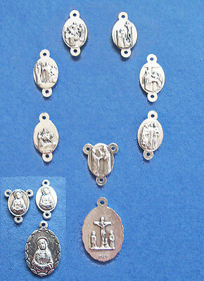 Small Italian Medals and Crucifixes for Rosary Bracelets 20pce