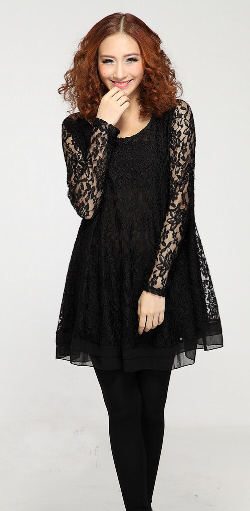 Sexy Long-Sleeved lace dress LSM48 PLUS size 1X2X3X4X5X6X7X8X9X10X(size16-52)