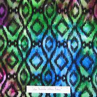Batik Fabric - Medium Black Diamond Purple Green Blue - Textile Creations 18