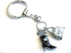 JDHotstuff-Key-Chains-Crystals-Purse-Black-Boot-Charms