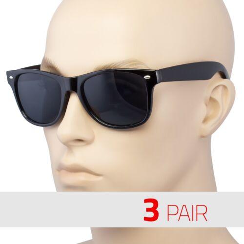 3 Pair Polarized Sunglasses Retro Glasses Vintage Frame Fashion Black