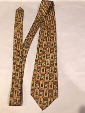 """RARE Vintage Salvatore Ferragamo  Tiger Silk Tie 56 """"Made In Italy"""