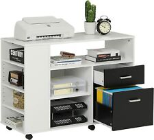 Rolling Wood File Cabinet Mobile Storage Filing Cabinet 2 Drawers With Lock Amp Door